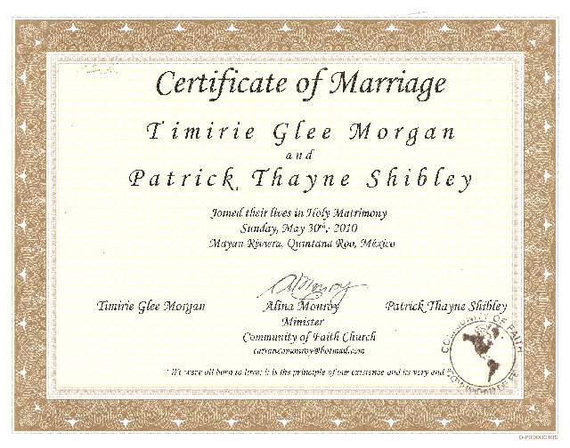 Certificate of Marriage | Cancun Wedding Offciant